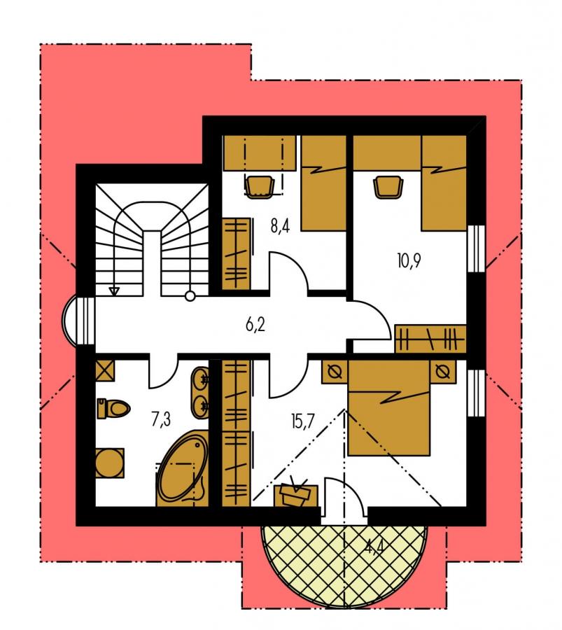 Pôdorys Poschodia - Dom na malý pozemok.