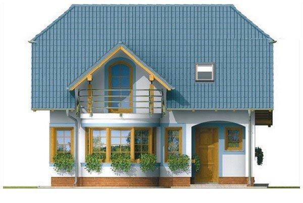 Pohľad 1. - Dom na malý pozemok.