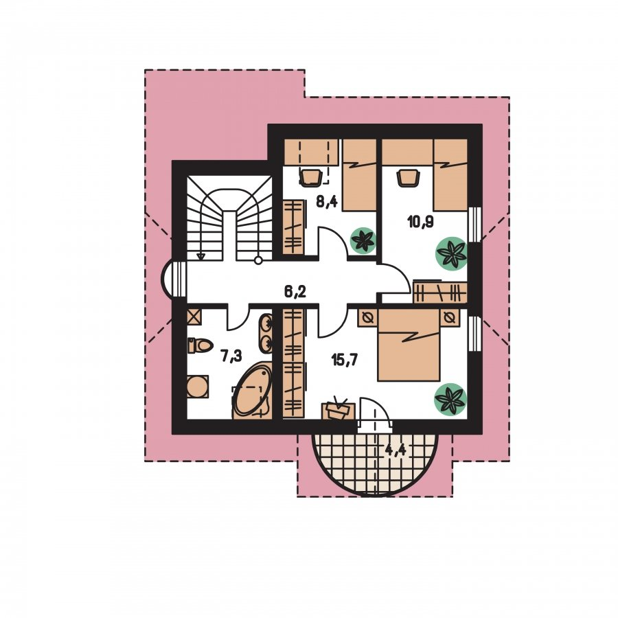 Pôdorys Poschodia - Dom na úzky pozemok a hodí sa ako dvojdom