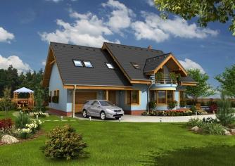 Projekt domu s izbou na prízemí, garážou a apsidou do ulice.