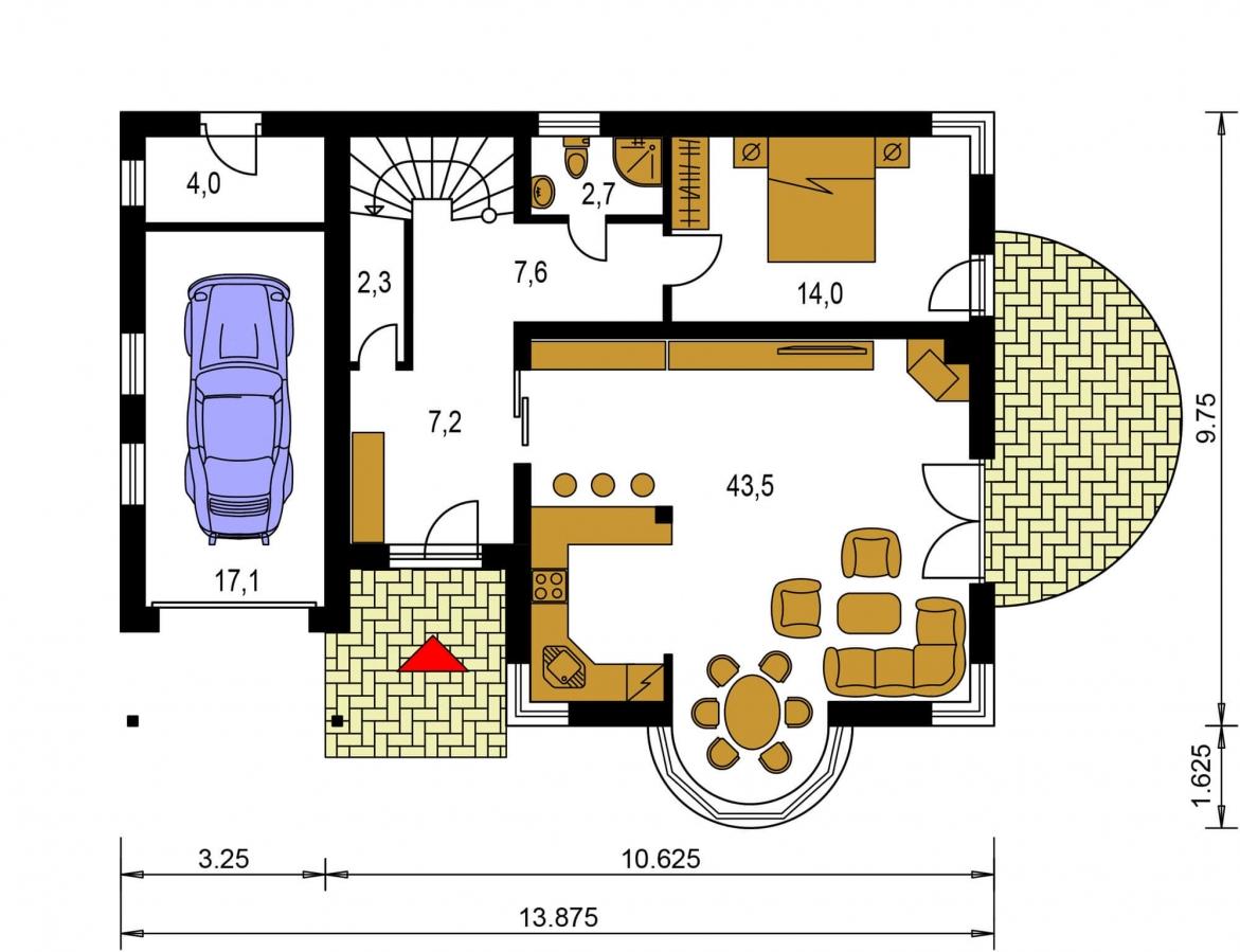 Pôdorys Prízemia - Projekt domu s izbou na prízemí, garážou a apsidou do ulice.
