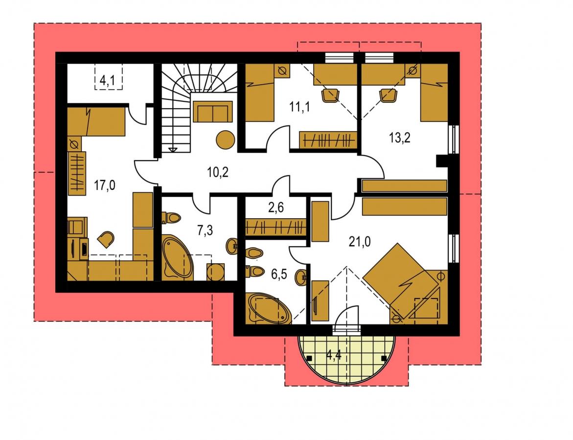 Pôdorys Poschodia - Projekt domu s izbou na prízemí, garážou a apsidou do ulice.