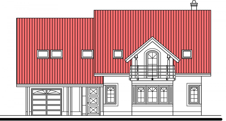 Pohľad 1. - Projekt domu s izbou na prízemí, garážou a apsidou do ulice.