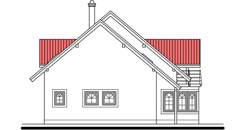 Pohľad 2. - Projekt domu s izbou na prízemí, garážou a apsidou do ulice.