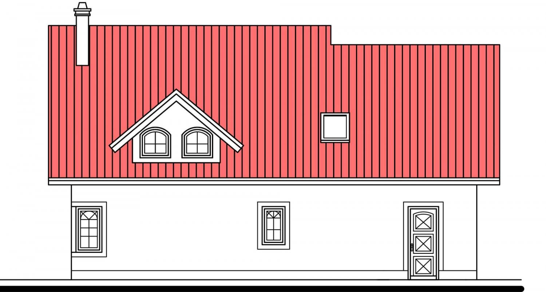 Pohľad 3. - Projekt domu s izbou na prízemí, garážou a apsidou do ulice.