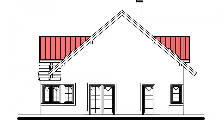Pohľad 4. - Projekt domu s izbou na prízemí, garážou a apsidou do ulice.