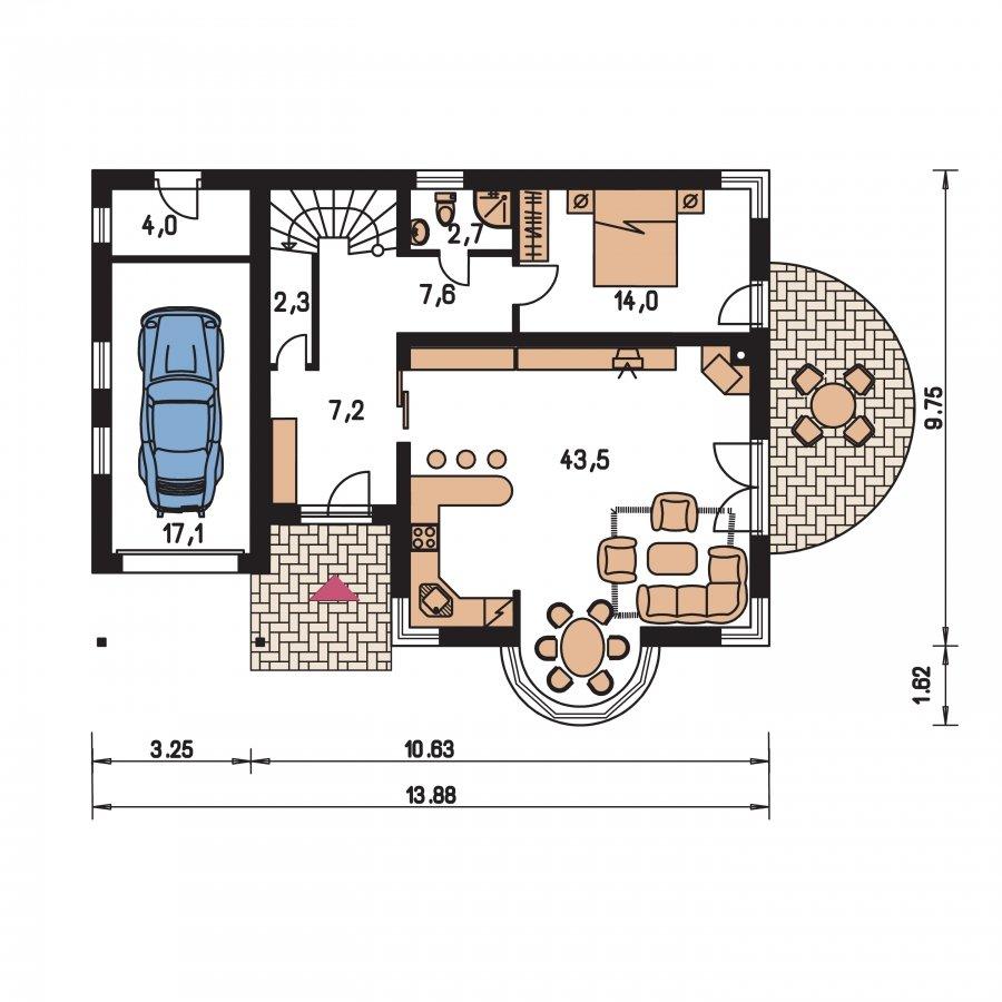 Pôdorys Prízemia - Projekt domu s garážou a apsidou do ulice, vhodný ako dvojdom