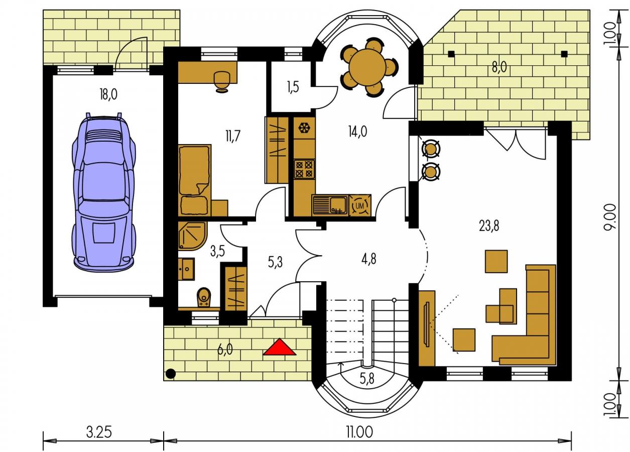 Pôdorys Prízemia - Poschodový rodinný dom s garážou a izbou na prízemí.
