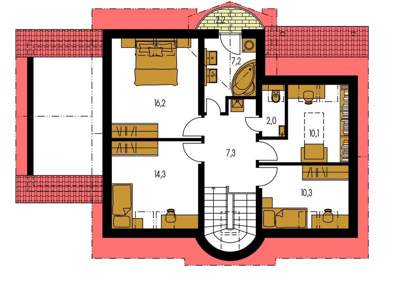 Pôdorys Poschodia - Poschodový rodinný dom s garážou a izbou na prízemí