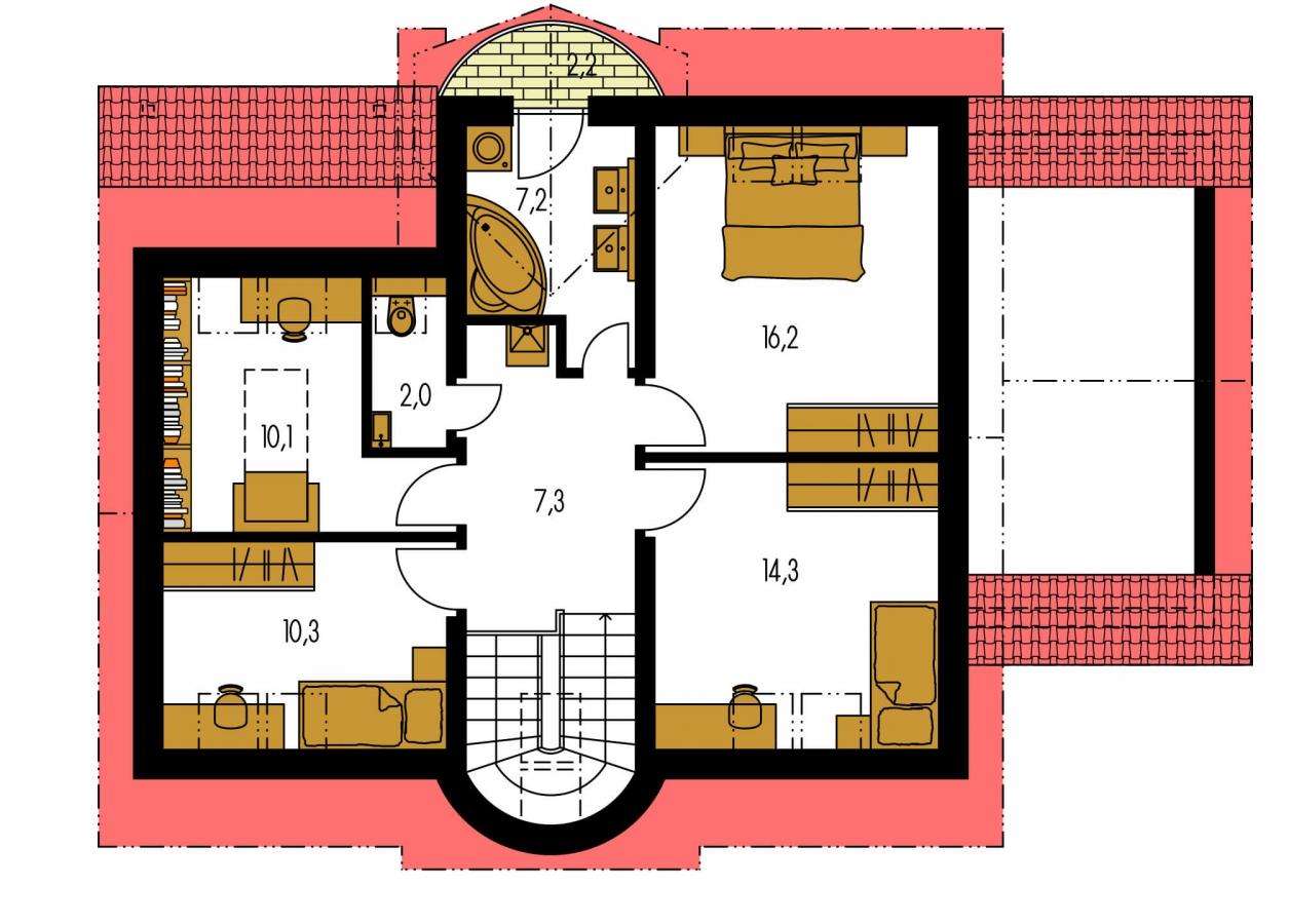 Pôdorys Poschodia - Poschodový rodinný dom s garážou a izbou na prízemí.