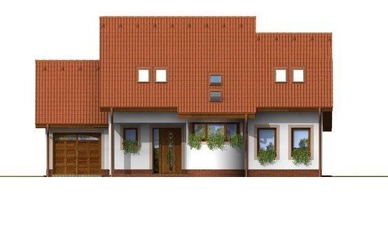 Pohľad 1. - Poschodový rodinný dom s garážou a izbou na prízemí.