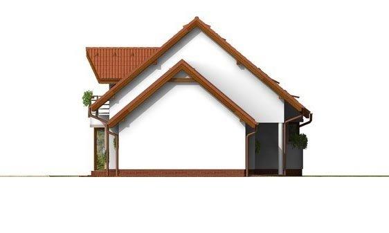 Pohľad 2. - Poschodový rodinný dom s garážou a izbou na prízemí.