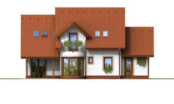 Pohľad 3. - Poschodový rodinný dom s garážou a izbou na prízemí.