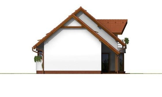 Pohľad 4. - Poschodový rodinný dom s garážou a izbou na prízemí.