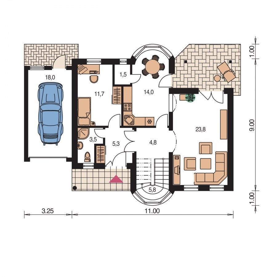 Pôdorys Prízemia - Poschodový rodinný dom s garážou a izbou na prízemí