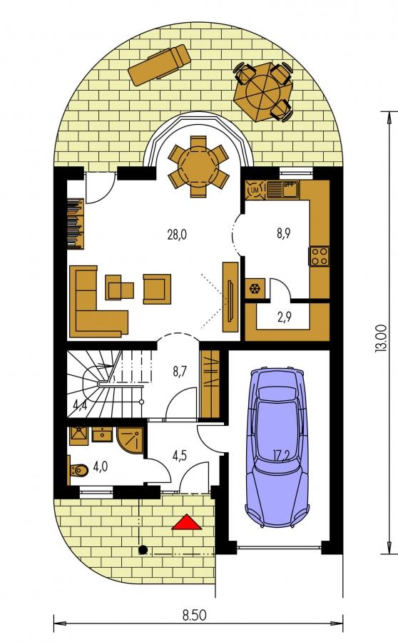 Pôdorys Prízemia - Poschodový dom s garážou a polvalbovou strechou.
