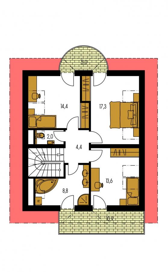 Pôdorys Poschodia - Poschodový dom s garážou a polvalbovou strechou.