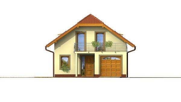 Pohľad 1. - Poschodový dom s garážou a polvalbovou strechou.
