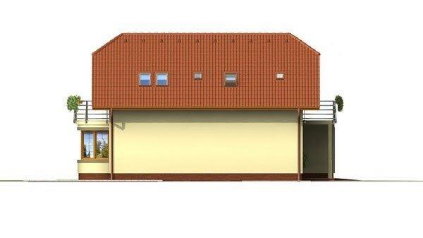 Pohľad 2. - Poschodový dom s garážou a polvalbovou strechou.