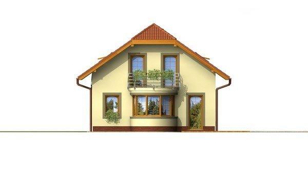 Pohľad 3. - Poschodový dom s garážou a polvalbovou strechou.