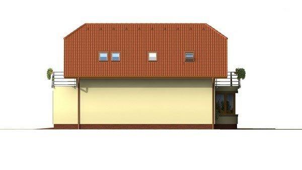 Pohľad 4. - Poschodový dom s garážou a polvalbovou strechou.