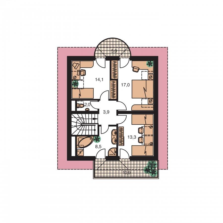 Pôdorys Poschodia - Poschodový dom s garážou a polvalbovou strechou