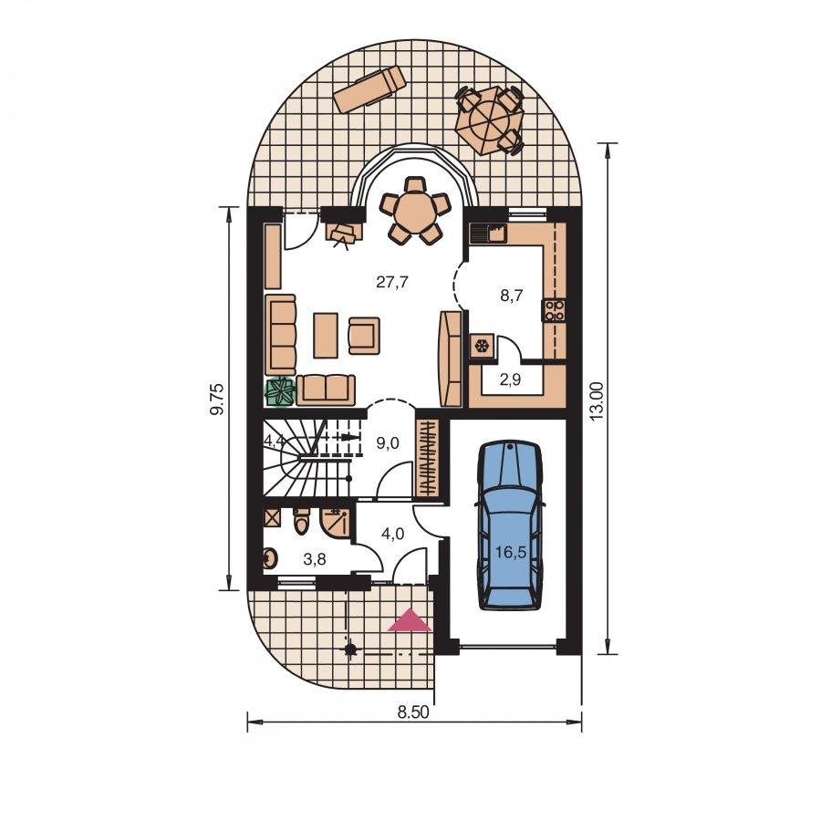 Pôdorys Prízemia - Poschodový dom s garážou a polvalbovou strechou