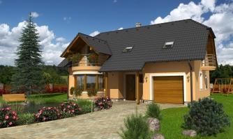 Poschodový projekt domu s garážou a terasou