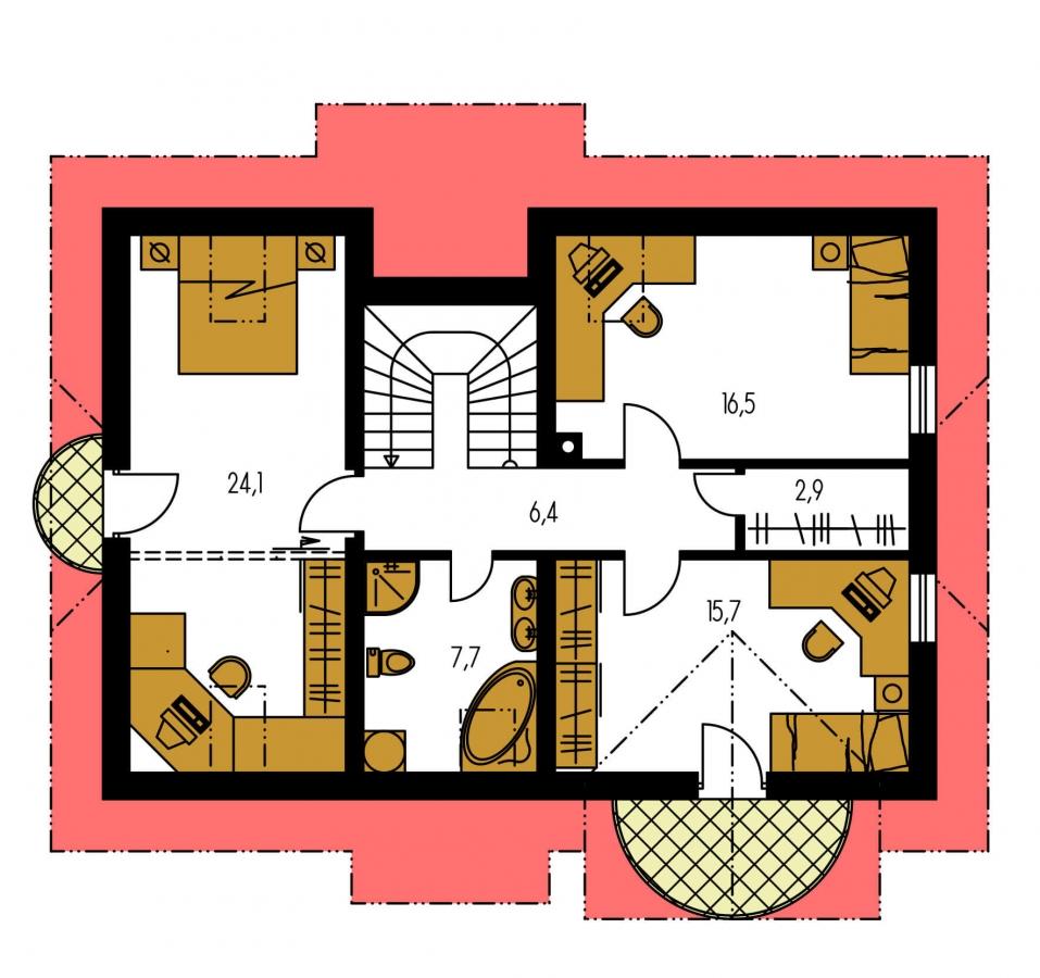 Pôdorys Poschodia - Poschodový projekt domu s garážou.