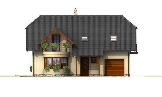 Pohľad 1. - Poschodový projekt domu s garážou a terasou
