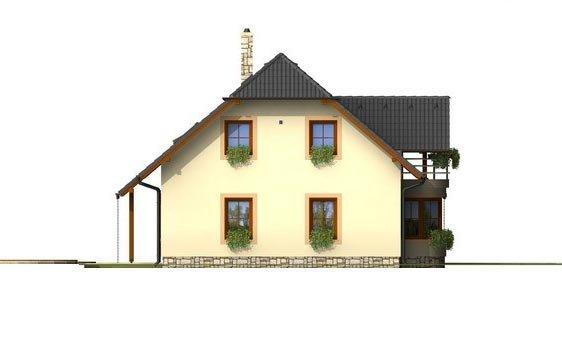 Pohľad 2. - Poschodový projekt domu s garážou.