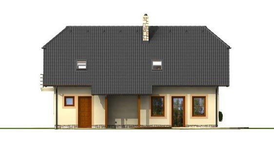 Pohľad 3. - Poschodový projekt domu s garážou.