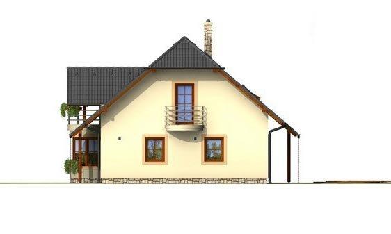 Pohľad 4. - Poschodový projekt domu s garážou a terasou