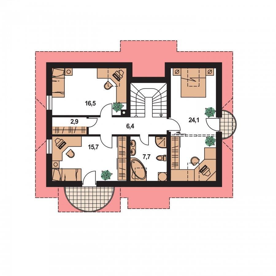 Pôdorys Poschodia - Poschodový projekt domu s garážou a terasou