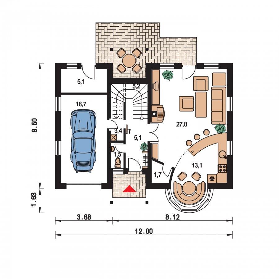 Pôdorys Prízemia - Poschodový projekt domu s garážou a terasou