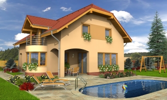 Úzky rodinný dom s garážou a terasou.