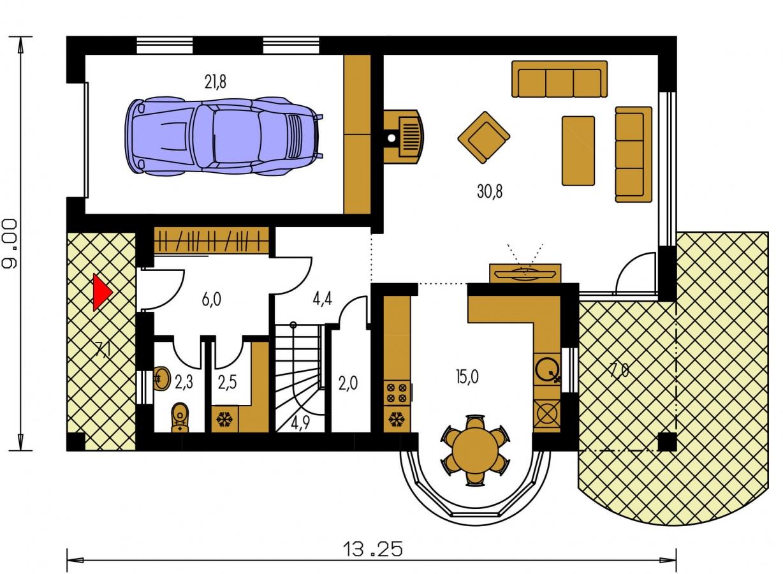 Pôdorys Prízemia - Úzky rodinný dom s garážou a terasou.