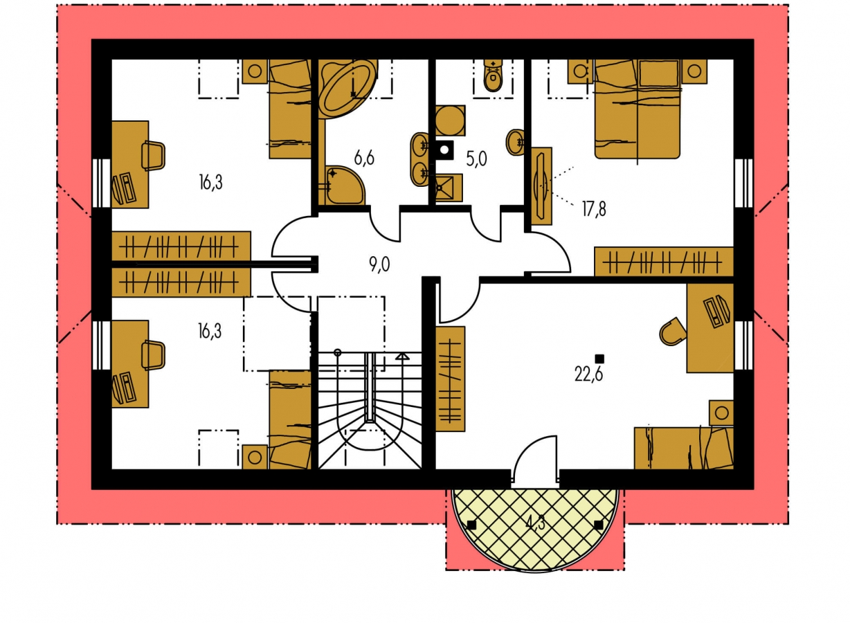 Pôdorys Poschodia - Úzky rodinný dom s garážou a terasou.