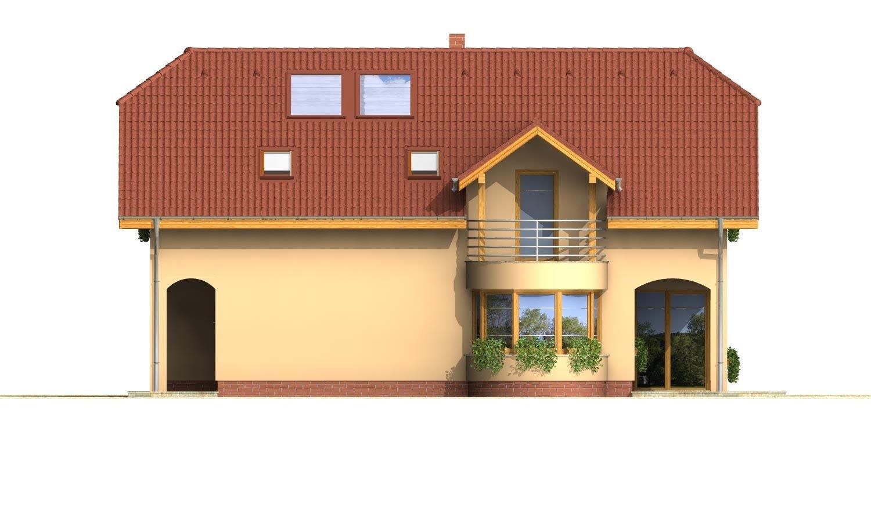 Pohľad 4. - Úzky rodinný dom s garážou a terasou.
