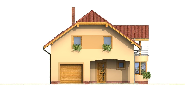 Pohľad 1. - Úzky rodinný dom s garážou a terasou.