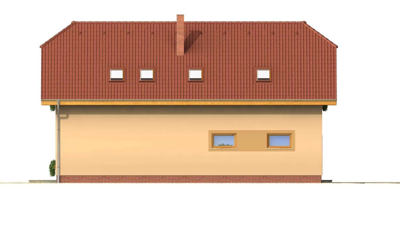 Pohľad 2. - Úzky rodinný dom s garážou a terasou.