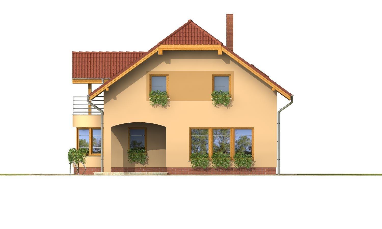 Pohľad 3. - Úzky rodinný dom s garážou a terasou.