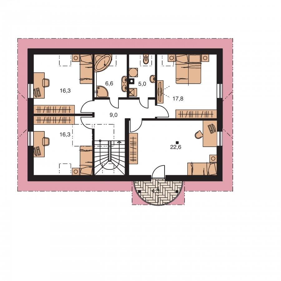 Pôdorys Poschodia - Úzky rodinný dom s garážou a terasou