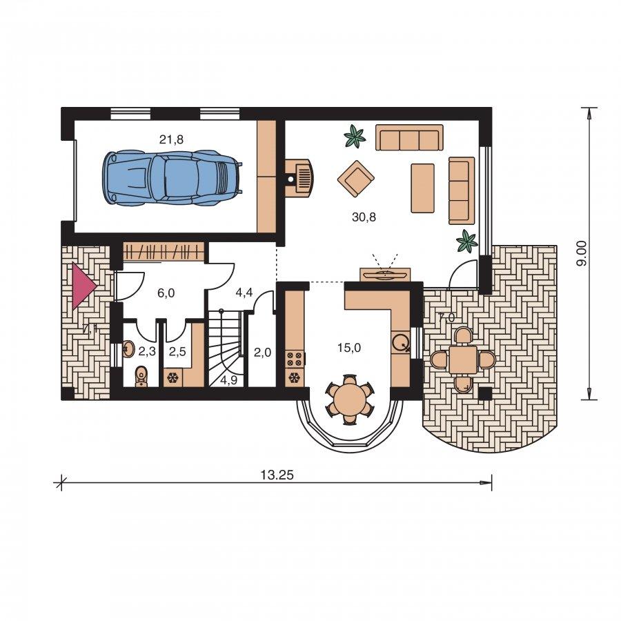 Pôdorys Prízemia - Úzky rodinný dom s garážou a terasou