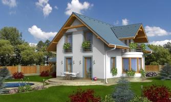 Projekt domu na úzky pozemok s garážou.