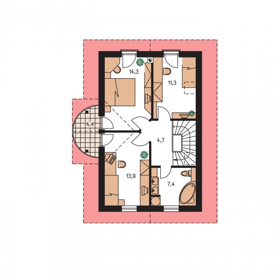 Pôdorys Poschodia - Projekt domu na úzky pozemok s garážou