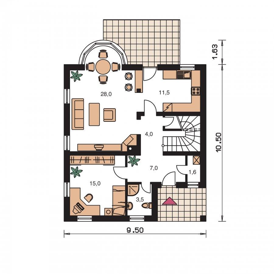 Pôdorys Prízemia - Poschodový dom s izbou na prízemí
