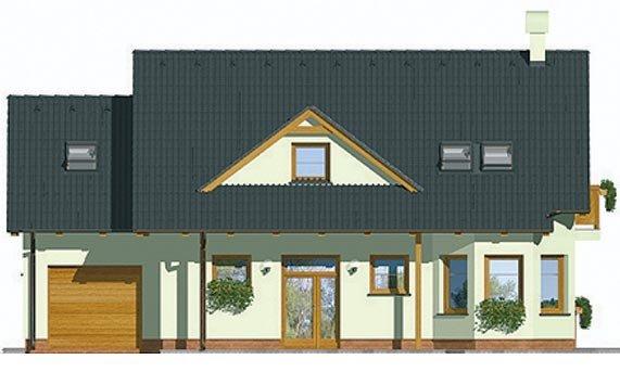 Pohľad 1. - Veľký dom s garážou a vonkajším krbom.
