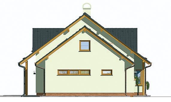 Pohľad 2. - Veľký dom s garážou a vonkajším krbom.