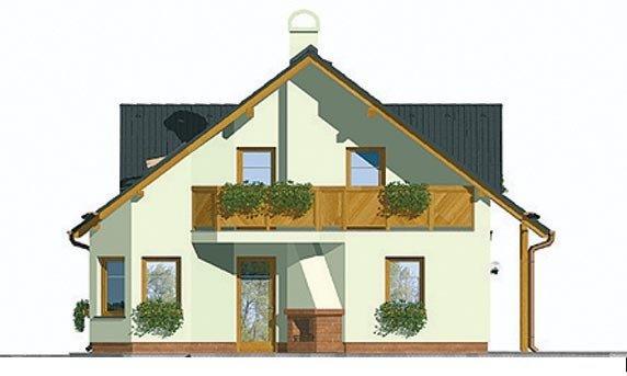 Pohľad 4. - Veľký dom s garážou a vonkajším krbom.